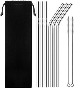 SENHAI 6 Pack 3.5'' Diameter Stainless Steel Drinking Straws with 2 Brush, 9.9