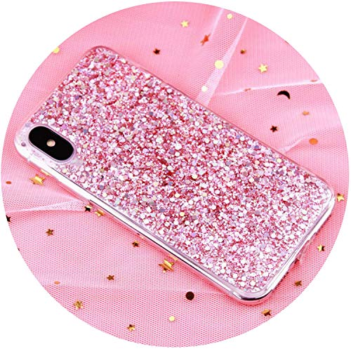 Dick Slicer 8 (Case for iPhone 6 6S Case Silicon Bling Glitter Crystal Sequins Soft Cover Fundas for iPhone 5SE 5S 7 8 Plus X XR XS Max,Pink,i7 (4.7inch))