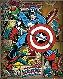 Pyramid International Captain America Retro Marvel Comics Mini Poster, Plastic/Glass, Multi-Colour, 40 x 50 x 1.3 cm