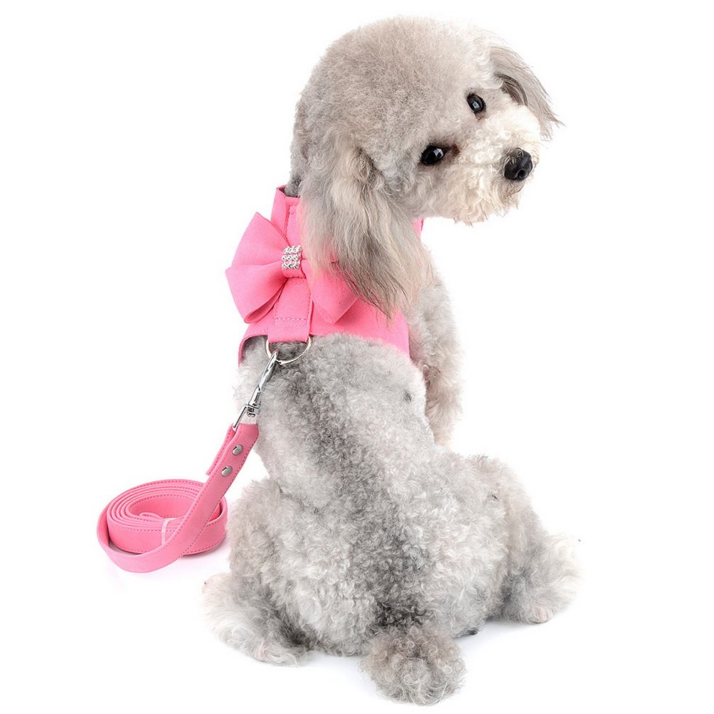 SELMAI Small Pet Dog Cat Bling Rhinestone Harness and Leash Set Bowknot Soft Ultra Suede Leather, Adjustable/No Pull Pink S