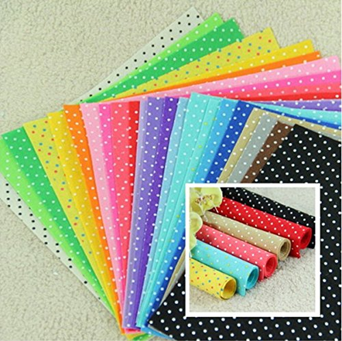 CHENGYIDA 20 Sheets Printed Polka Dots Felt Fabric - Pre-Cut 30cm x 30cm per sheet - Mix different colors (Fabric Printed Felt)