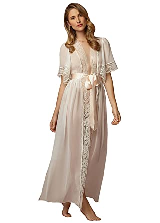 a132d32774 Fenghuavip Women s Bathrobes With Lace Edge Short Sleeves Sexy Long Robe  For Wedding Bride at Amazon Women s Clothing store