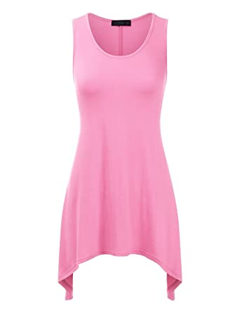 b71fe565428 Doublju Round Neck Tunic Tank Top with Flared Hem for Womens with Plus Size  LIGHTPINK Small