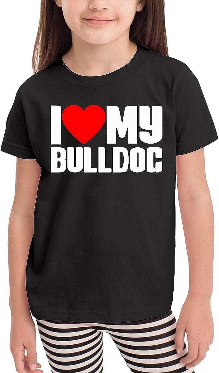 I Love Heart My Bulldog Kids Cotton T-Shirt Basic Soft Short Sleeve Tee Tops for Baby Boys Girls