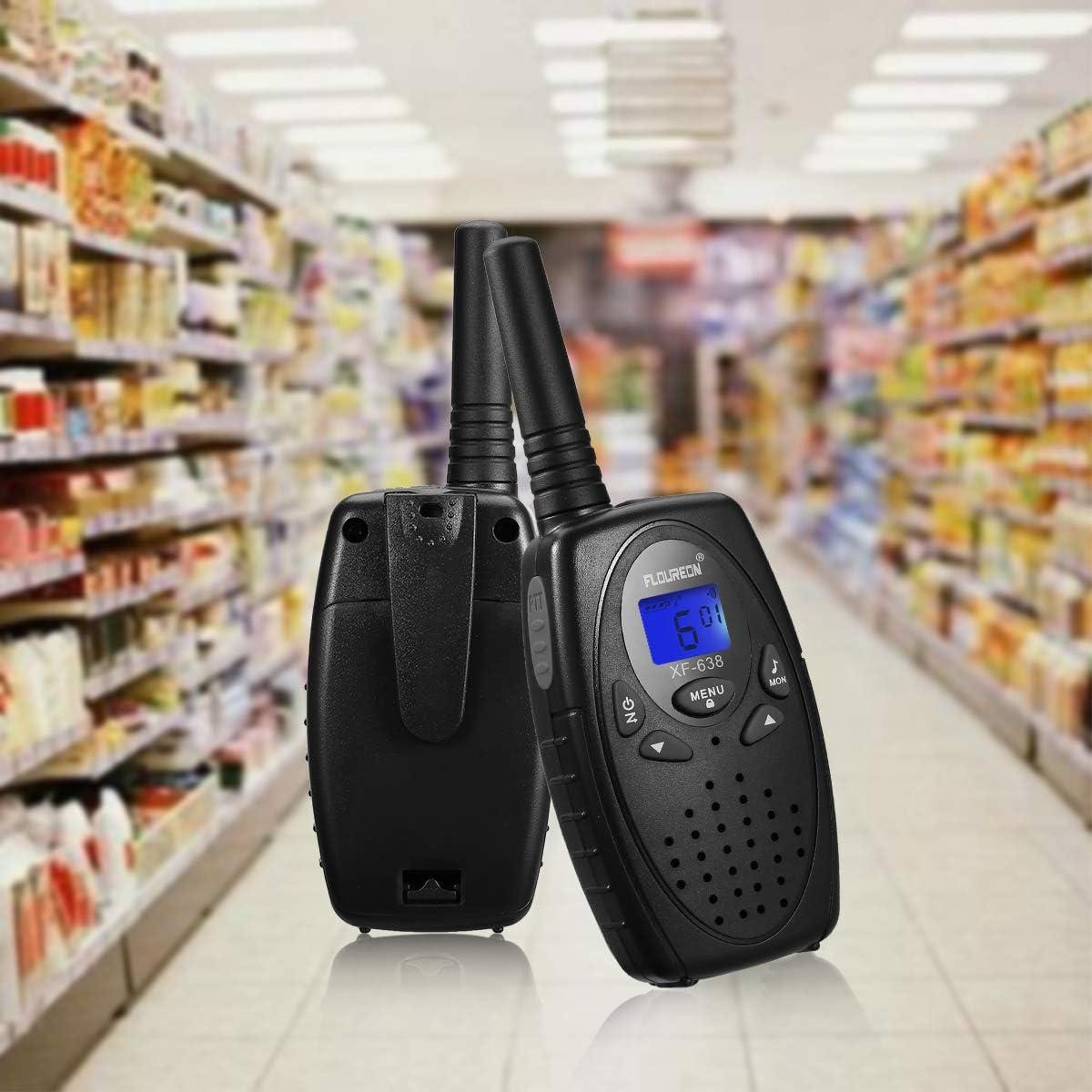 FLOUREON 4 Packs Walkie Talkies Two Way Radios 22 Channel 3000M MAX 5000M Open Field UHF Long Range Handheld Talkies Talky Black