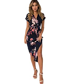 fbb6709e2ce Gorgeya Womens Casual Midi Dresses Short Sleeve Long Skirt Tunic Split  Summer Floral Pattern Belted Dress
