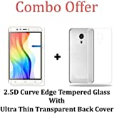 M.G.R.J [ Coolpad Mega 3 ] Transparent Back Cover + Ballistic Tempered Glass Screen Protector – Maximum Impact Protection -99.9% Crystal Clear HD Glass - No Bubbles