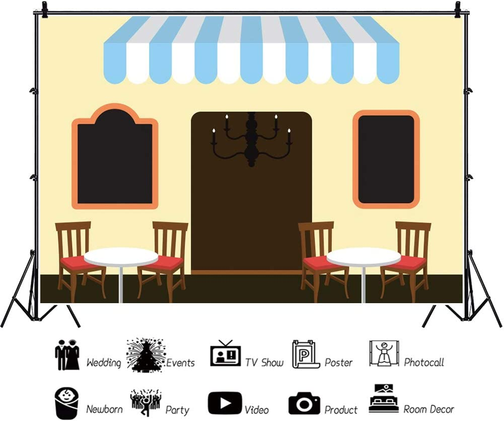 YEELE 10x8ft Cartoon Cafe Backdrop Cafe on Street with Table and Chairs Photography Background Kids Birthday Cake Smash Party Table Decor Prek Kids Acting Show Photo Booth Props Digital Wallpaper