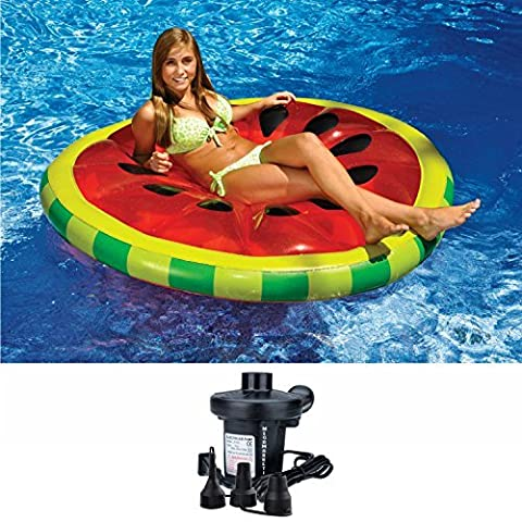 Swimline Watermelon Slice Inflatable Swimming Pool Island Lounger Float with Electric Air Pump - Seahawk 200 Inflatable Boat