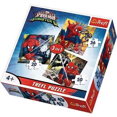 Trefl Spiderman Puzzle 3 en 1-Spiderman-20/36/50 Pièces, 34822