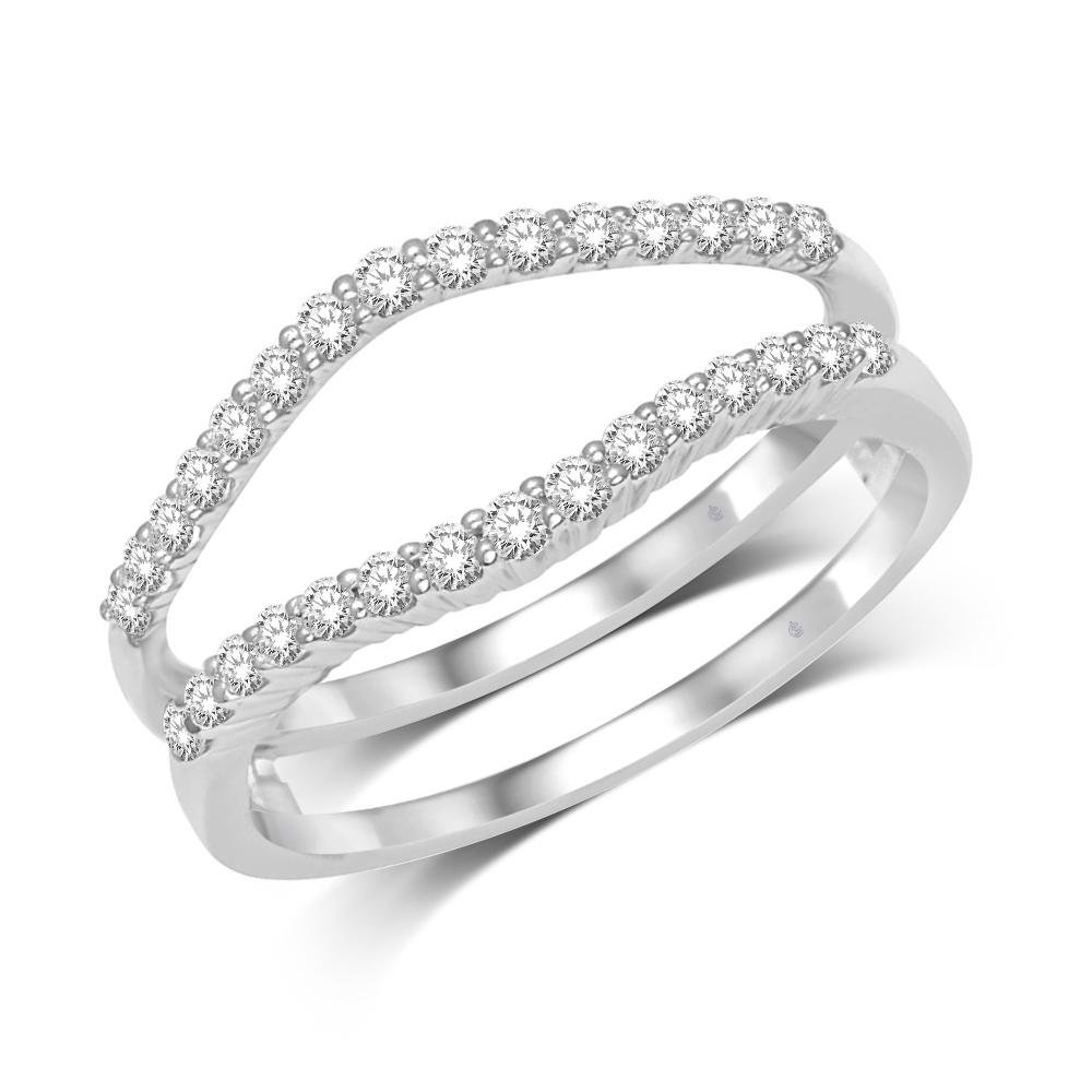 14K White Gold 1/3 Ct.Tw. Diamond Guard Ring