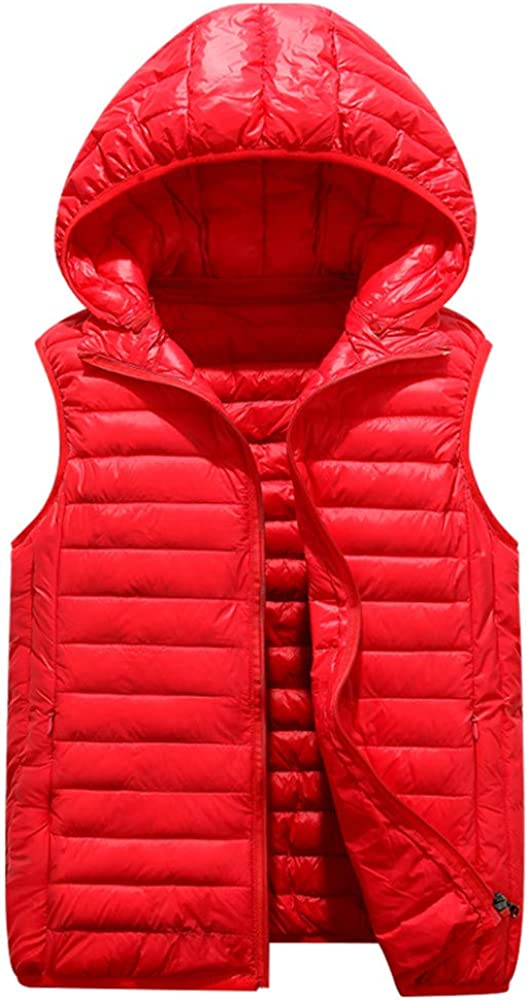 Minizone Kids Hooded Down Gilets Toddler Body Warmers Sleeveless Lightweight Waterproof Winter Outfits 5-10 Years