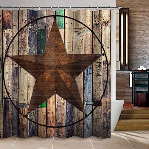 "KAROLA Bathroom Curtain Set with 12 Hooks Rustic Barn Star Vintage Western Texas Star on Brown Wooden Plank Grommet with 12 Hooks for Bedroom Livingroom Bathroom 72"" x 72"""