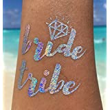Bachelorette Tattoo Bride Tribe party supplies foil hologram flash rainbow gold metallic temporary tattoos set of 12 (6 Hologram & 6 Gold each with 1 bride + 5 bride tribe tattoos)