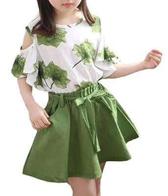 92303683f6fd2 Snoneガールズ 子供服 キッズ Tシャツ+スカート 2点セット ガールズトップス スカート 短