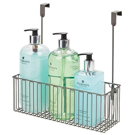 mDesign Estante Colgante para Utensilios de baño – Prácticas repisas para baño de Metal para Guardar