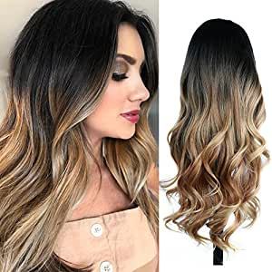 Quantum Love Wigs Ombre Wig Black to Light Brown Side Part Long Wavy Wig Heat Resistant Synthetic Daily Party Wig for Women (Ombre Black to Light Brown)