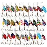 LeaningTech BT0004 LOT 30PCS Spinner Metal Hard Fishing Lures Set, Crankbaits, Bass, Pike Salmon Baits Hooks, Removable Split Assorted Tackle, Multi-Color