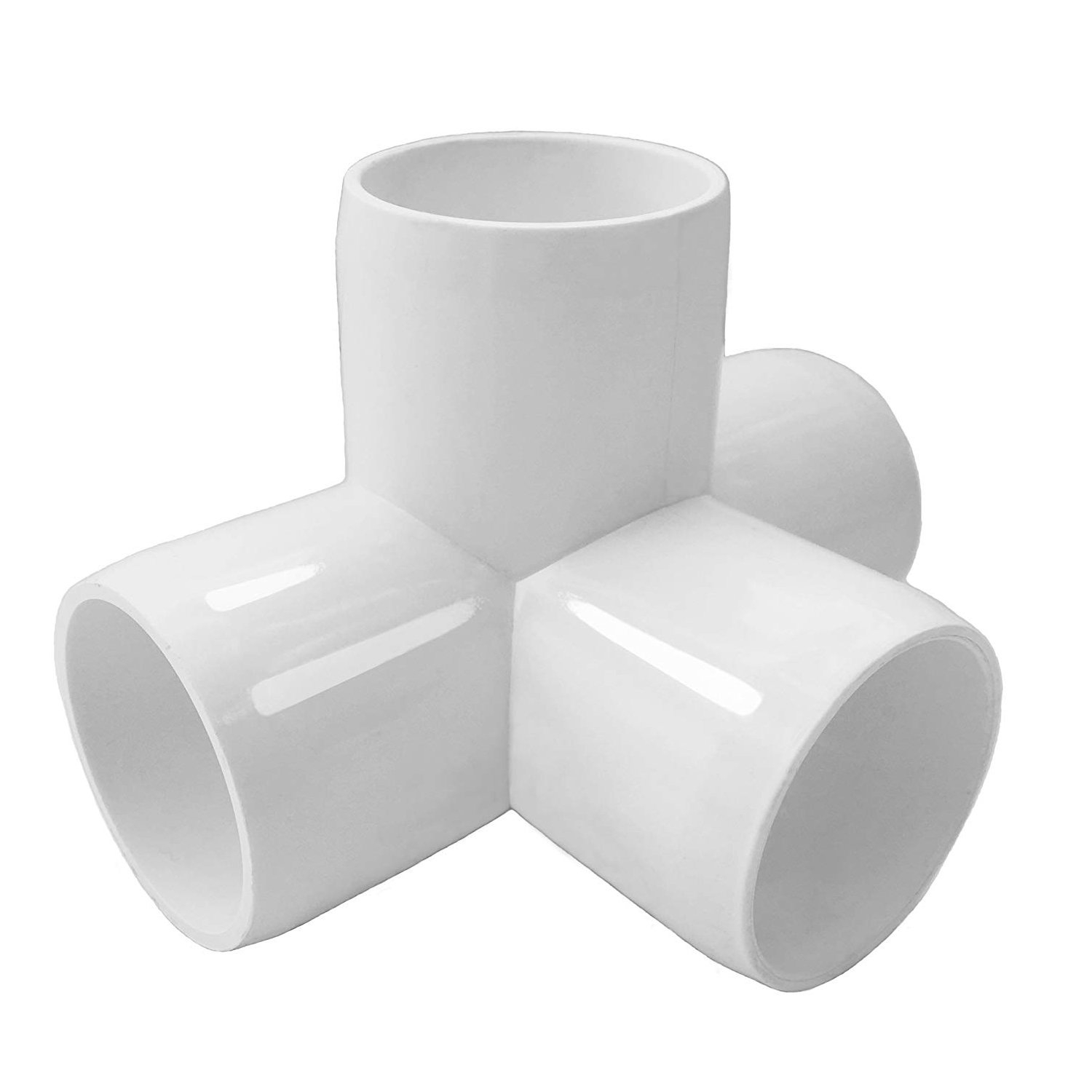 4 Way Tee PVC Fitting 3/4 in Tee PVC Fitting Elbow Build Heavy Duty PVC Furniture Grade SCH 40 PVC 0.75''/1'' Elbow Fittings For One Inch Size Pipe - White (Pack of 10) (4Way1in)