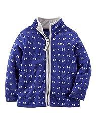 Carter's Baby Girls' Zip Microfleece Jacket (3 Months, Purple/Grey)