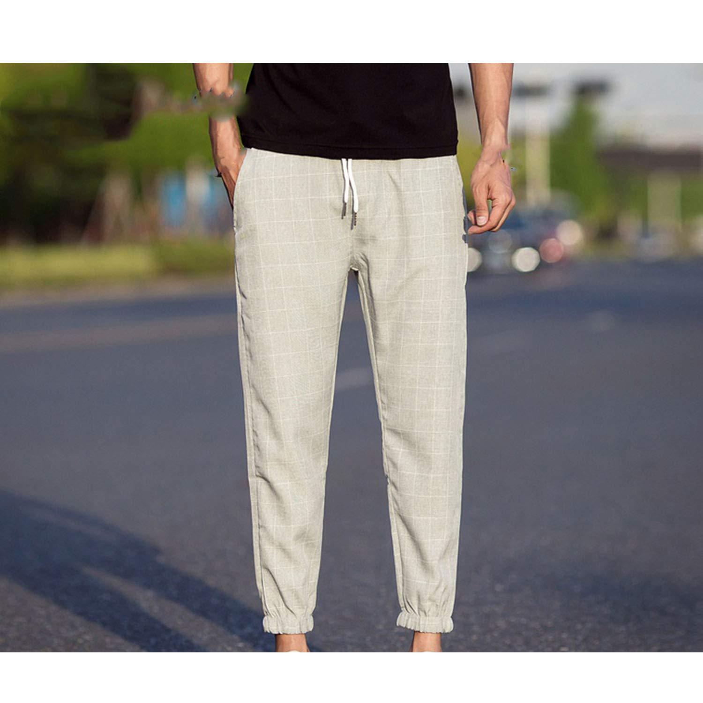 Casual Plaid Ankle-Length Pants Men Hip Hop Pants Japanese Streetwear Pants