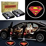 HOLAHONEY 2Pcs Wireless Universal Car Projection LED Projector Door Shadow Light Welcome Light Laser Emblem Logo Lamps Kit No Drilling Required (Superman)