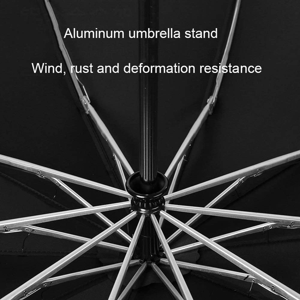 YAXY Umbrella Windproof Anti-UV Compact Umbrella Automatic Large Umbrella Travel Travel Umbrella Folding Portable Umbrella Auto Flashlight with Rubber Handle Color : Blue