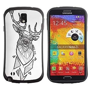 Suave TPU Caso Carcasa de Caucho Funda para Samsung Note 3 N9000 N9002 N9005 / deer antlers white polygon pattern black / STRONG
