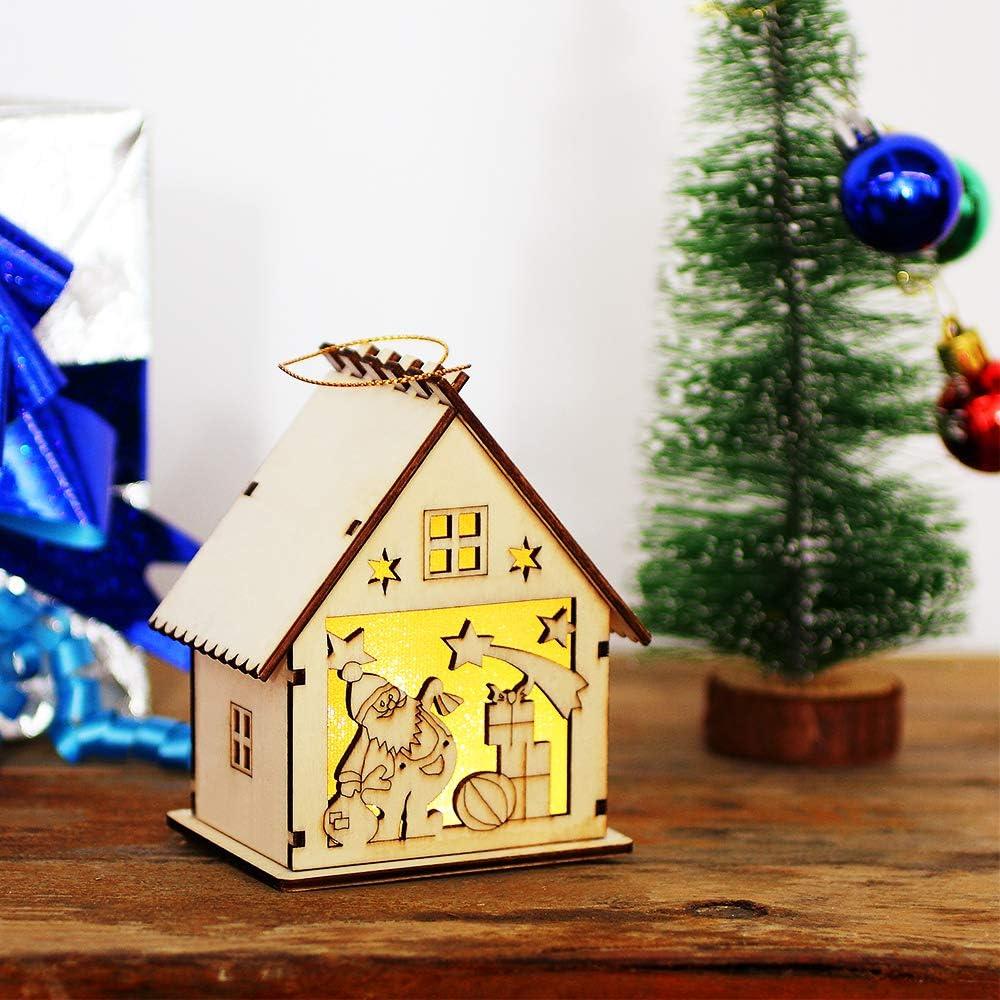 Luminous Chalet Holiday Decoration Deer amorus LED Light Wood House Christmas Tree Hanging Ornament