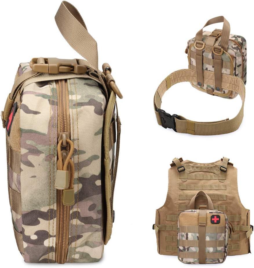 WYNEX Tactical Erste-Hilfe-Beutel Molle EMT-Beutel Abrei/ßbare milit/ärische IFAK-medizinische Tasche Notfall-/Überlebenskit f/ür den Au/ßenbereich Schnellverschluss-Design Inklusive Rotkreuz-Patch