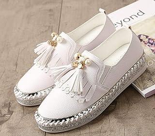 YOPAIYA Chaussures De Pêcheur Microfibre Cristal Blanc Mocassins Plats Femme Gland Perle Décorer Talons Souples Dames Joker Glisser sur Chaussures Espadrilles