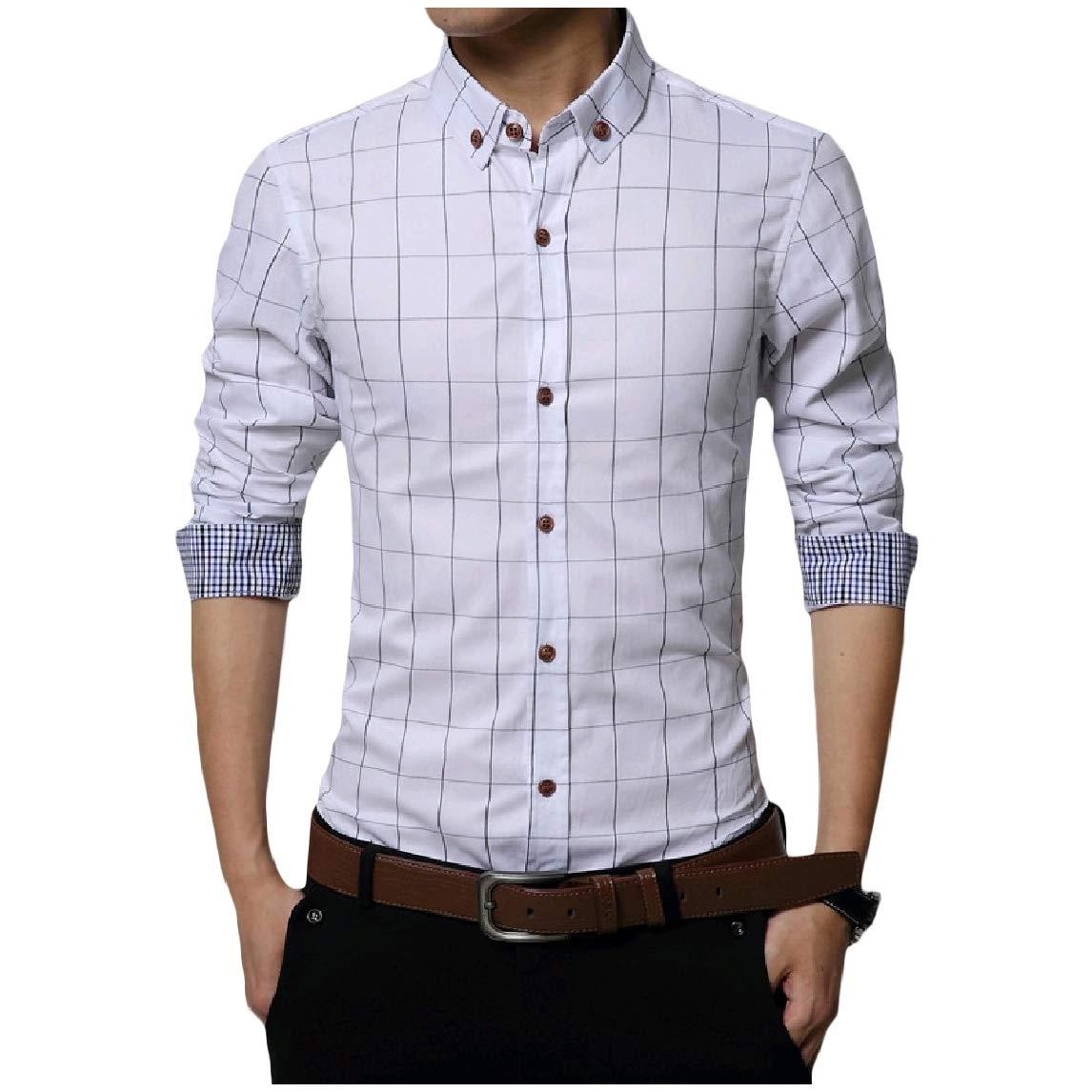 KaWaYi Mens Cotton Slim Plus Size Lapel Plaid Long-Sleeve Tees Top Shirts