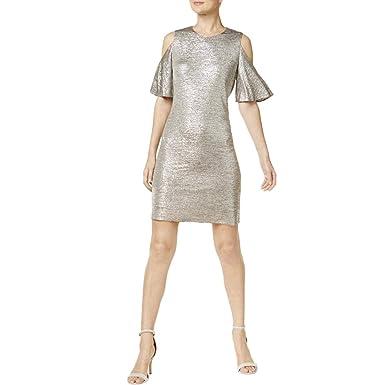 2436904b194de Calvin Klein Women's Cold Shoulder Sheath Dress Silver 2 at Amazon ...