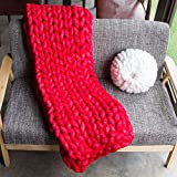 Super Chunky Hand Knit Throw Blanket Crochet Warm Thick Bulky Knitted Blanket for Sofa Living Room Handmade Home Decoration (47x59 Inches)