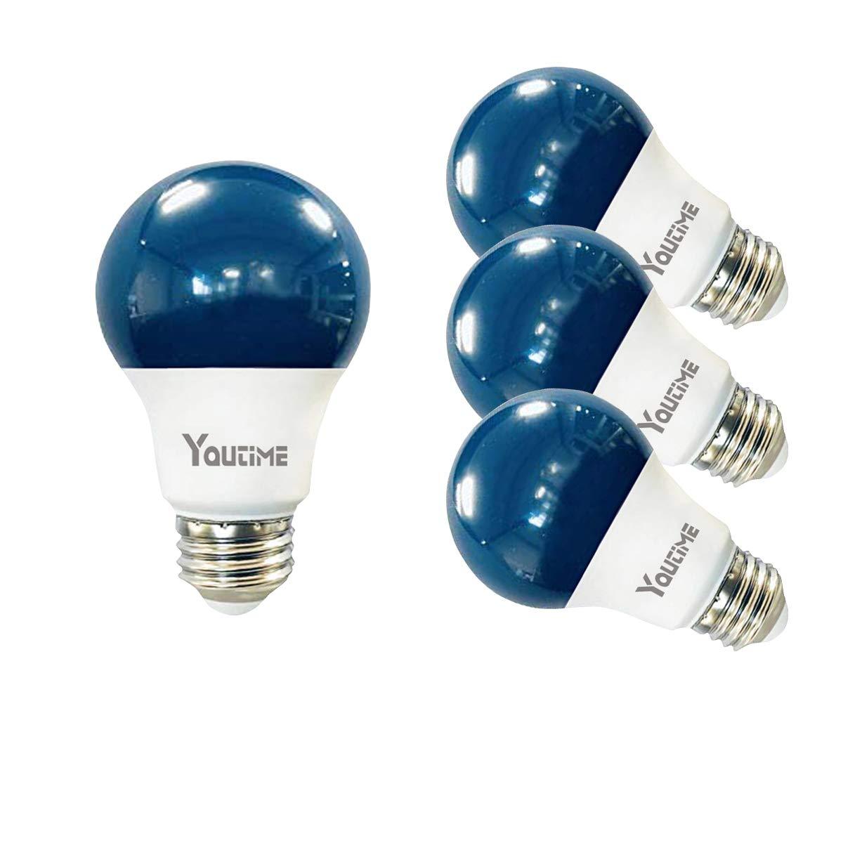 Youtime A19 LED Blue Bug Light Bulb 7W Daylight White 5000K with E26 Medium Base, 4 Packs