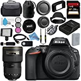 Nikon D5600 DSLR Camera (Body Only) (Black) 1575 AF-S 16-35mm f/4G ED VR Lens 2182 + 256GB SDXC Card + Card Reader + Professional 160 LED Video Light Studio Series Bundle