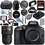 Nikon D5600 DSLR Camera (Body Only) (Black) 1575 AF-S 16-35mm f/4G ED VR Lens 2182 + 256GB SDXC Card + Card Reader + Professional 160 LED Video Light Studio Series Bundle