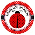 Ladybug Thank You Stickers for Birthday or Baby Shower Party - Set of 30