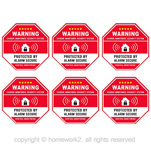 Authentic Home Security, Red Octagon-Shaped, 3.3 X 3.3 Inch Vinyl Decal – Door & Window Stickers, UV Protected & Waterproof – 6 Labels