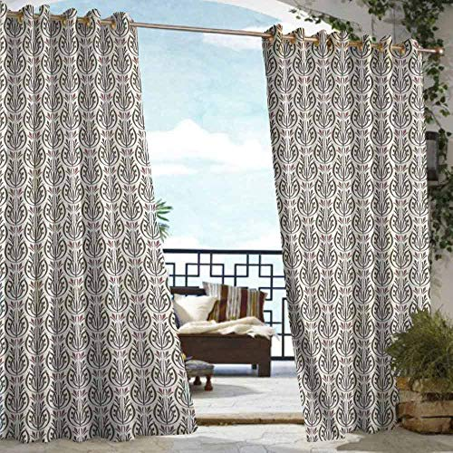(VIVIDX Curtains for Bedroom,Art Nouveau,for Porch&Beach&Patio,W84x108L Cream Dried Rose Army Green)