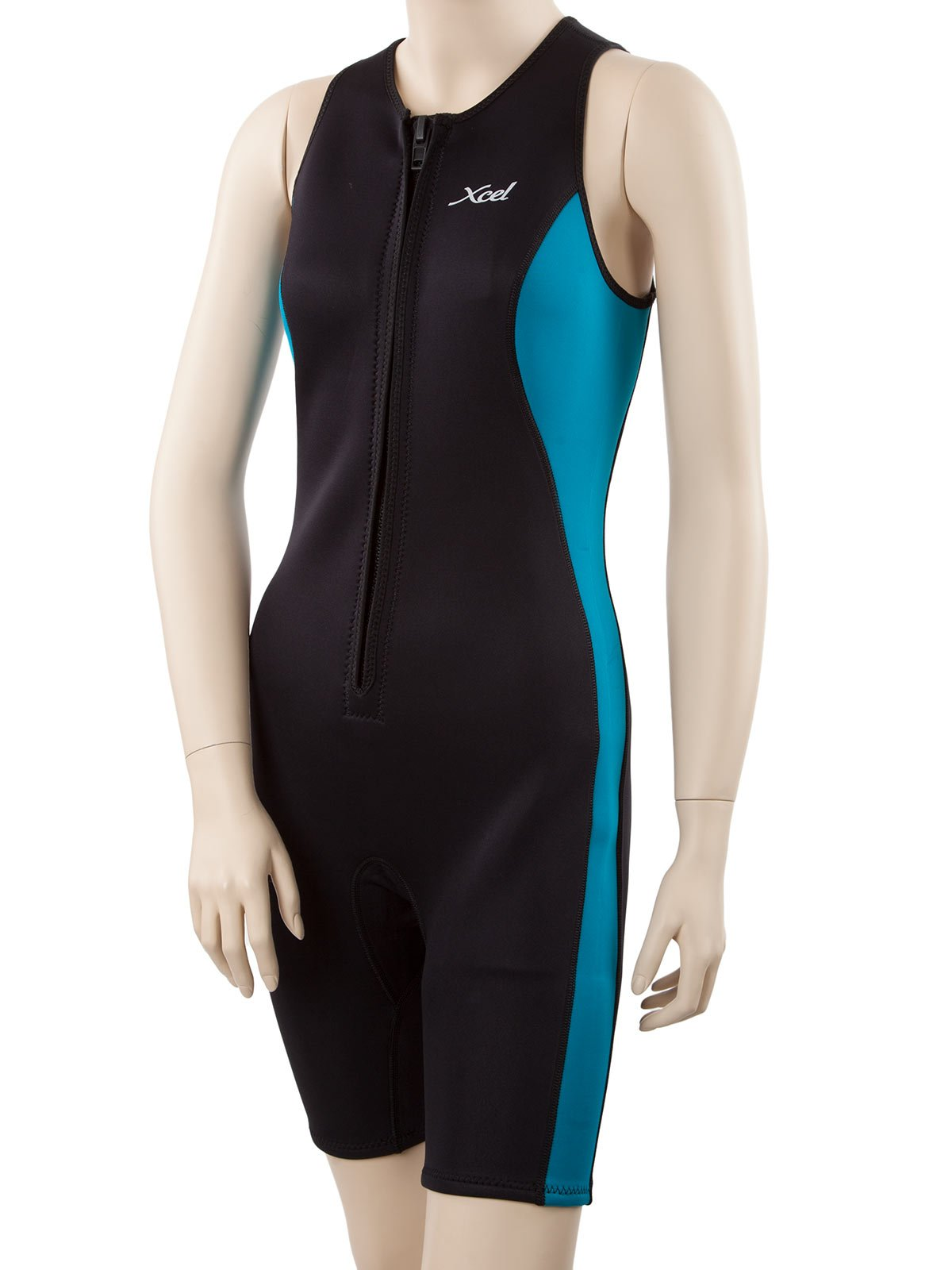 XCEL Women's Racerback Shorty Wetsuit 12 Tall Black/Wild Peacock by XCEL