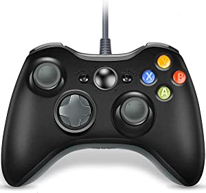 VOYEE Controller Replacement for Xbox 360, Upgraded Wired Controller Compatible with Microsoft Xbox 360 & Slim/PC Windows 10/8/7 (Gray & Black)