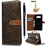 Note 8 Case, Flip Book Style Wallet Case Crocodile Premium PU Leather Kickstand Cover Shockproof Magnetic Soft TPU Interior Shell with Dust Plug & Stylus for Samsung Galaxy Note 8 by Badalink - Gold