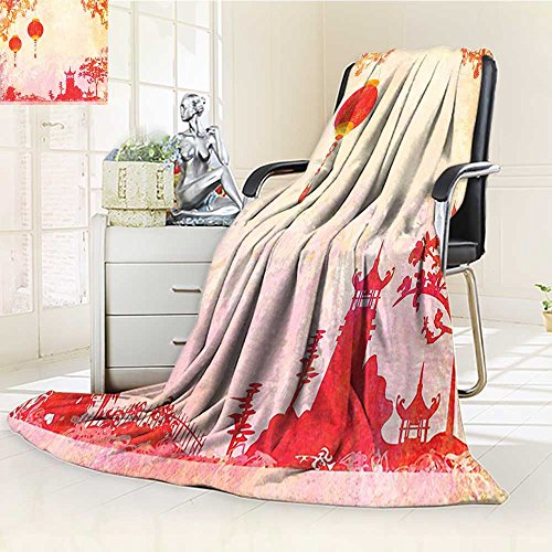 Digital Printing Blanket Asian With And Pagoda Temple Spirituality Meditation Summer Quilt Comforter by AmaPark
