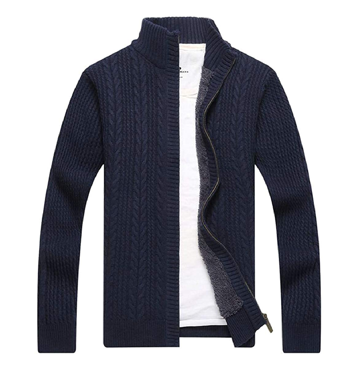 ONTBYB Mens Winter Thicken Stand Collar Full Zip Knit Cardigan Sweater Outwear