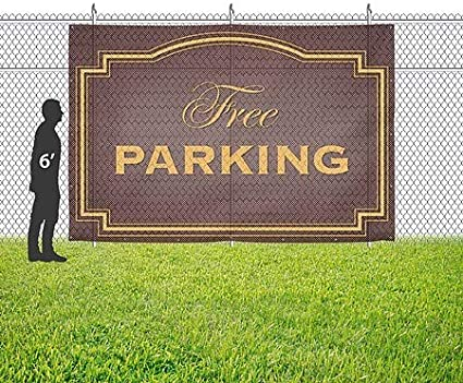 12x8 Classic Brown Wind-Resistant Outdoor Mesh Vinyl Banner Free Parking CGSignLab