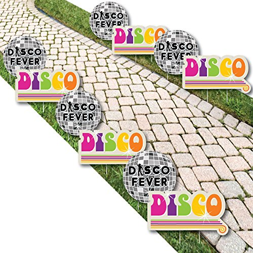 70's Disco - Disco Ball Lawn Decorations - Outdoor 1970's Disco Fever Party Yard Decorations - 10 Piece -