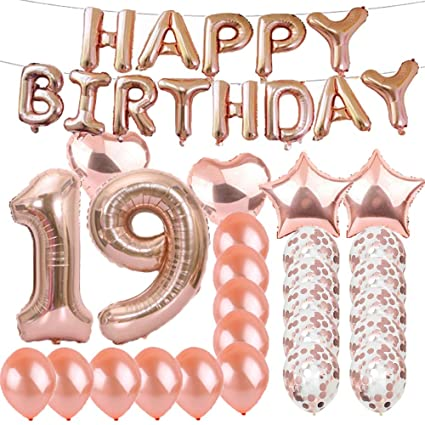 Sweet 19th Birthday Decorations Party SuppliesRose Gold Number 19 Balloons Foil Mylar
