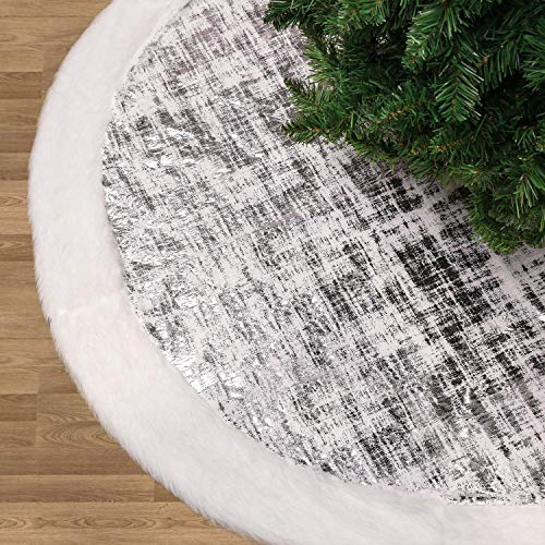 Valery Madelyn 48 inch Frozen Winter Silver White Christmas Tree Skirt with Shimmering Silver and Faux Fur, Themed with Christmas Ornaments (Not Included) (Tree And Theme Silver Christmas Blue)