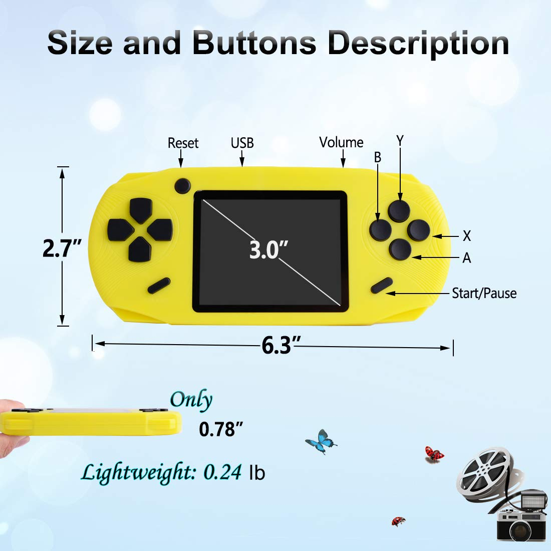 TEBIYOU Handheld Game Console, Built in 16 Bit100 HD Classic Video Games 3.0'' Large Screen Seniors Electronic Handheld Games Player Birthday Gift for Children Adults (Yellow) by TEBIYOU (Image #5)